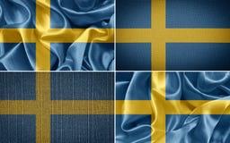 Swedish flag. Swedish fabric flags. set flag Royalty Free Stock Photo