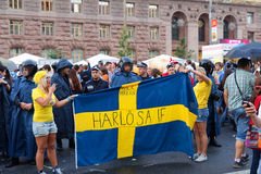 Swedish fans in the fanzone before match Euro 2012 Stock Photos