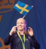 Swedish female soccer keeper Hedvig Lindahl waiving the swedish. STOCKHOLM, SWEDEN - AUG 21, 2016: Swedish female soccer keeper Hedvig Lindahl waiving the stock photography