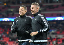 Swedish FIFA referees. Warming up prior to UEFA Champions League Group E game between Tottenham Hotspur and Bayer Leverkusen on November 2, 2016 at Wembley Stock Images