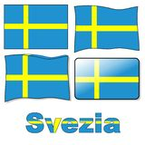 Swedish flag. Traditional Swedish flag, moving, 3D effects, banners Stock Photo
