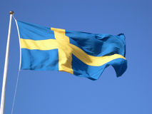 Swedish flag. And blue sky Stock Photo