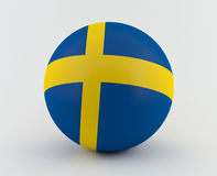 Swedish flag on 3D sphere Royalty Free Stock Photo