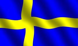 Swedish flag. Flag of Sweden with waving effect stock illustration