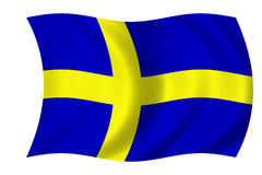 Swedish flag. Waving flag of Sweden - swedish flag stock illustration