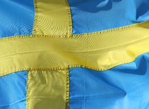 Swedish flag. Close-up of a waving Swedish flag Royalty Free Stock Photo
