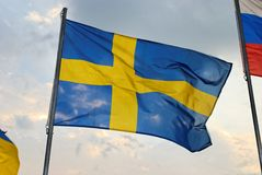 Swedish Flag. Waves in the wind Royalty Free Stock Photography