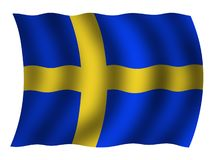 Swedish flag. Swedish natioanal in a wave shape Stock Photo