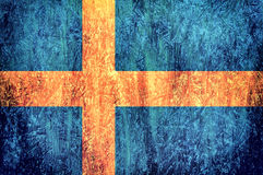 Swedish flag. Abstract Swedish flago on the wooden background Stock Photos