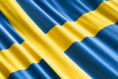 Swedish flag background, 3D. Rendering Royalty Free Stock Photos