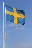 Swedish flag. Blowing in the wind Stock Image