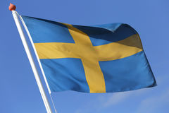 Swedish flag. Blowing in the wind Stock Photography