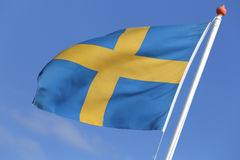 Swedish flag. Blowing in the wind Royalty Free Stock Photos