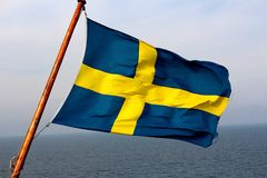 Swedish flag. On a boat Stock Photo