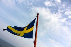Swedish flag. On a boat Royalty Free Stock Image