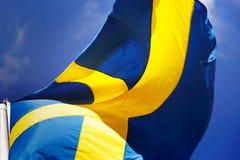 Swedish flag close-up. Close-up of a Swedish flag Stock Photography