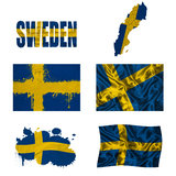 Swedish flag collage. Sweden flag and map in different styles in different textures Royalty Free Stock Image