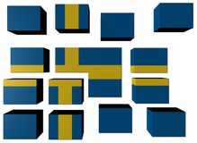 Swedish Flag on cubes Stock Photos