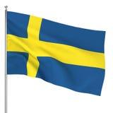 Swedish flag. 3d illustration on white background Royalty Free Stock Image