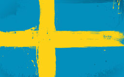 Swedish flag daubed with paint Stock Photos