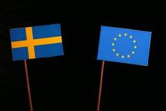 Swedish flag with European Union EU flag  on black Stock Photos