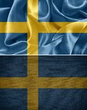 Swedish flag. Swedish fabric flags. flag Swedish Royalty Free Stock Photography