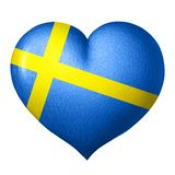Swedish flag heart isolated on white background. Pencil drawing stock illustration