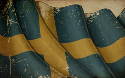 Swedish Flag Old Newspaper Background Royalty Free Stock Photo