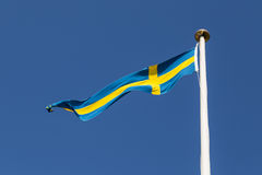 Swedish Flag. Photograph of a long and thin Swedish flag Royalty Free Stock Images