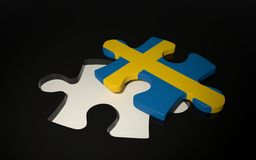 Swedish Flag Puzzle Piece - Flag of Sweden. Royalty Free Stock Images
