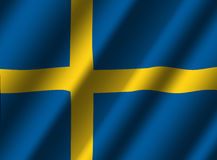 Swedish flag with ripples Stock Photography