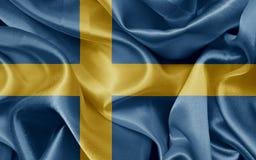 Swedish flag. Swedish satin flag On fabric texture Stock Photos