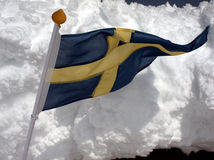 Swedish flag and snow Stock Image