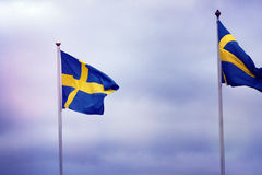 Swedish Flag swaying in the wind. Royalty Free Stock Image