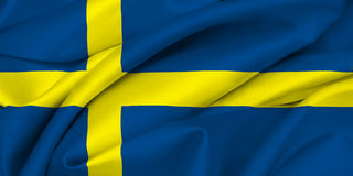 Swedish Flag - SWEDEN. Swedish Flag waving on satin texture Stock Photo