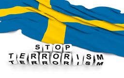 Swedish flag and text stop terrorism. Stock Photography