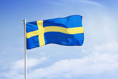 Swedish Flag. Swedish Flag waving on wind Stock Photos