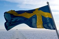 Swedish flag in winter Stock Images