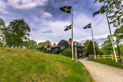 Swedish Flags in Gamla Uppsala, Sweden Royalty Free Stock Photo
