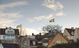 Swedish Flags in Visby, Sweden Stock Photos