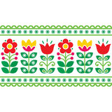 Swedish floral retro pattern - long traditional folk art design Stock Photography