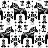 Swedish folk art Dala or Daleclarian horse seamless pattern in black Stock Photography