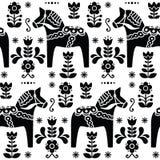 Swedish folk art Dala or Daleclarian horse seamless pattern in black Stock Photography