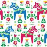 Swedish folk art Dala or Daleclarian horse seamless pattern Stock Photo