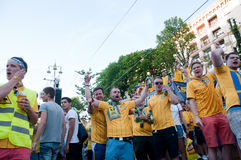 Swedish football fans on euro 2012 Royalty Free Stock Photos
