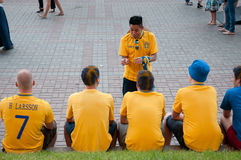 Swedish football fans on euro 2012 Stock Photo