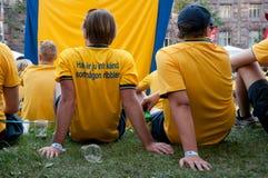 Swedish football fans on euro 2012 Stock Photo
