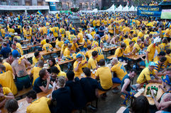 Swedish football fans on euro 2012 Stock Image