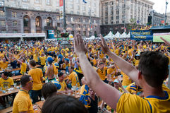 Swedish football fans on euro 2012 Stock Images