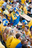 Swedish football fans on euro 2012 Stock Image